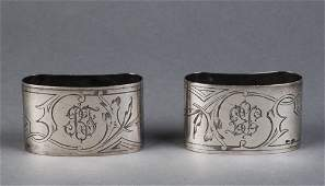 RUSSIAN SILVER Pair of kidney shaped engraved napkin