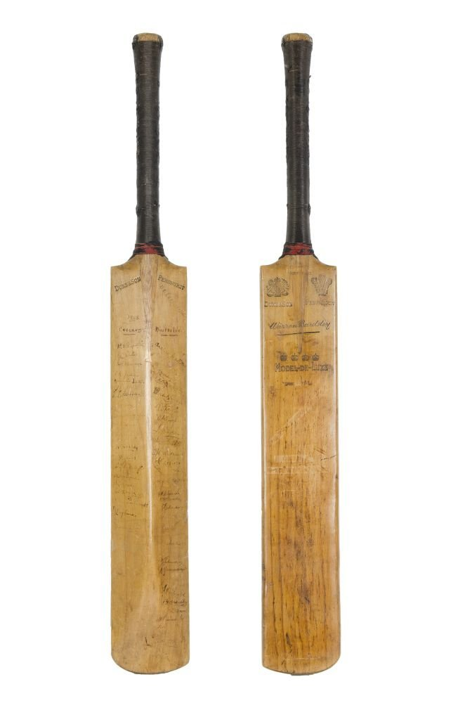 "DON BRADMAN'S FIRST TEST BAT: Full size ""Duke & Son -"