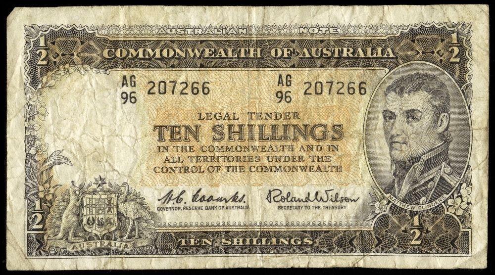 Australia 1966 50c (17); banknote range with 10/-