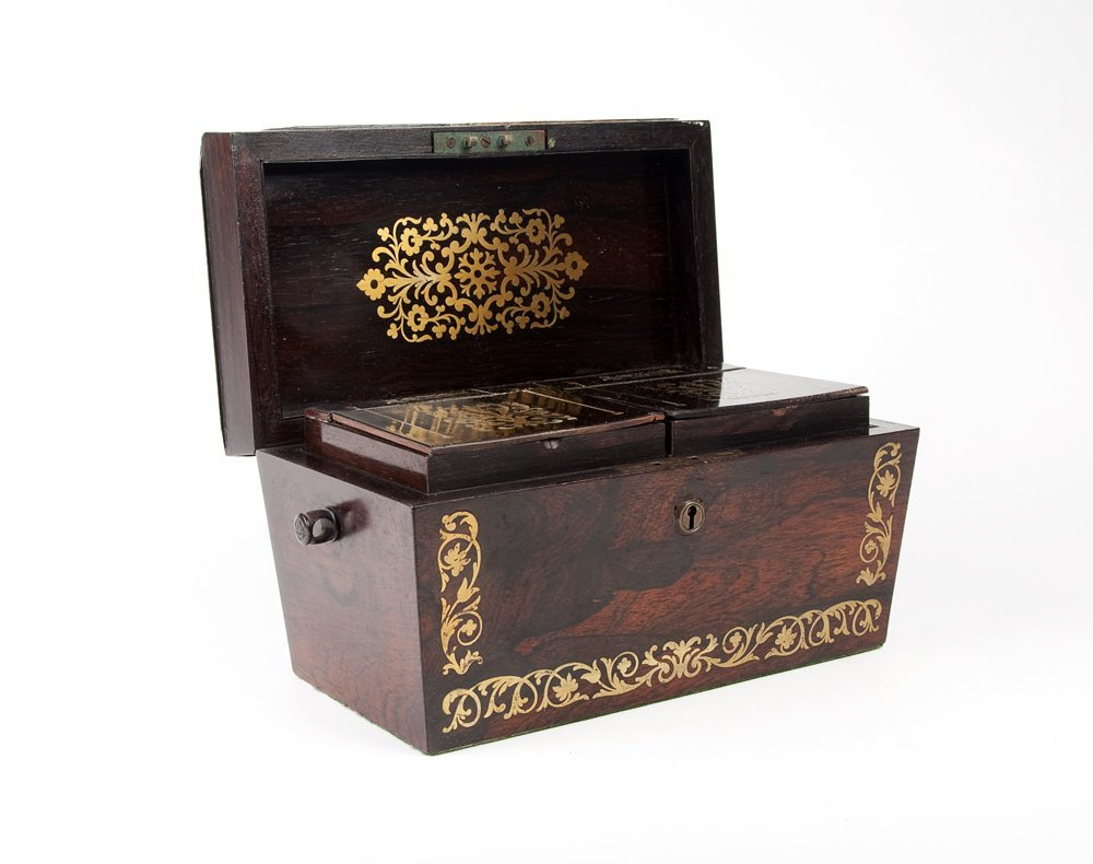 A Regency brass inlaid two division tea caddy, English