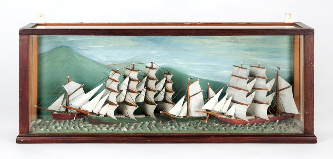 A Victorian painted diorama, English 19th century; four