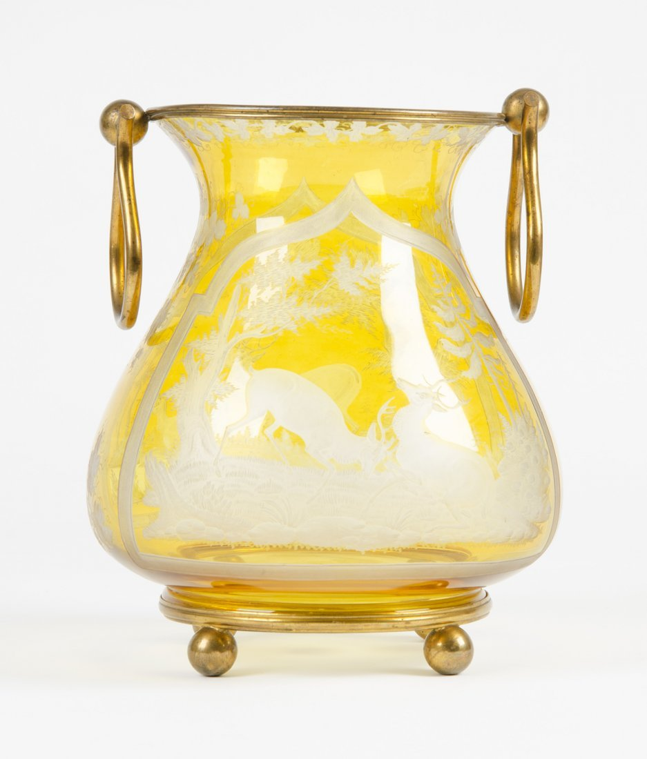 BOHEMIAN GLASS VASE: Intaglio cut lemon glass vase with