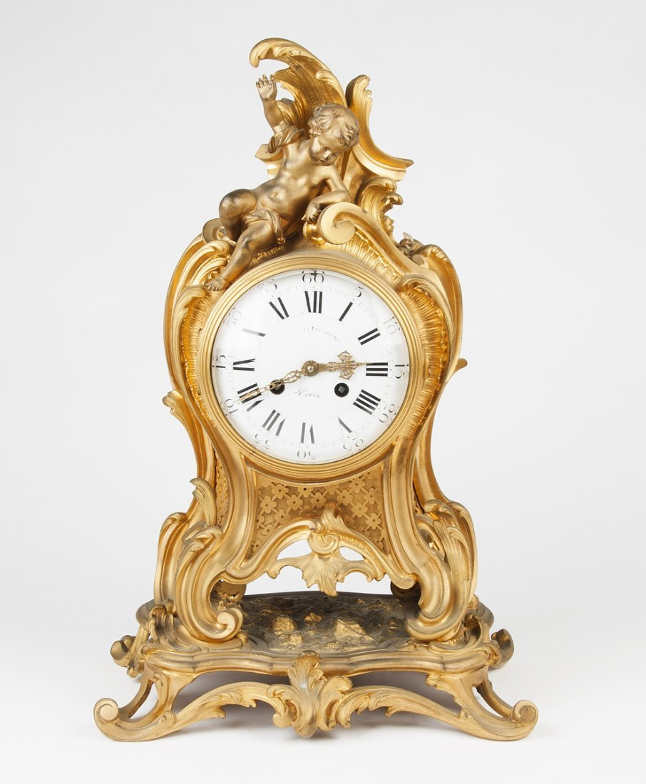 A gilt bronze bracket clock, French 19th century; with