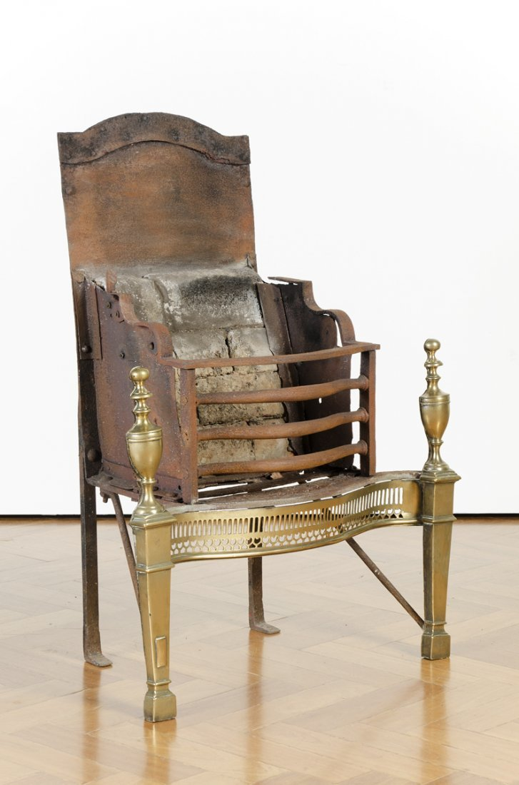 FIRE CRADLE: Antique brass & iron with fire bricks, in