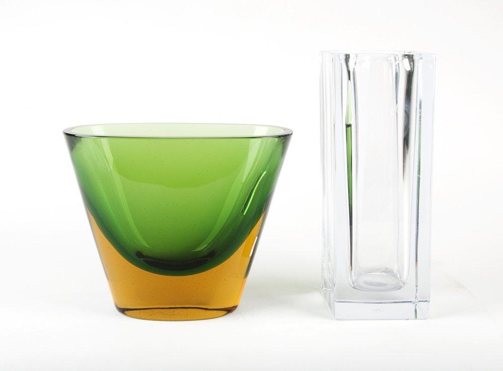Italian Somerso art glass vase and French crystal vase,