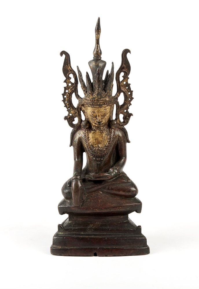 A Thai parcel gilt bronze figure of a seated Buddha,