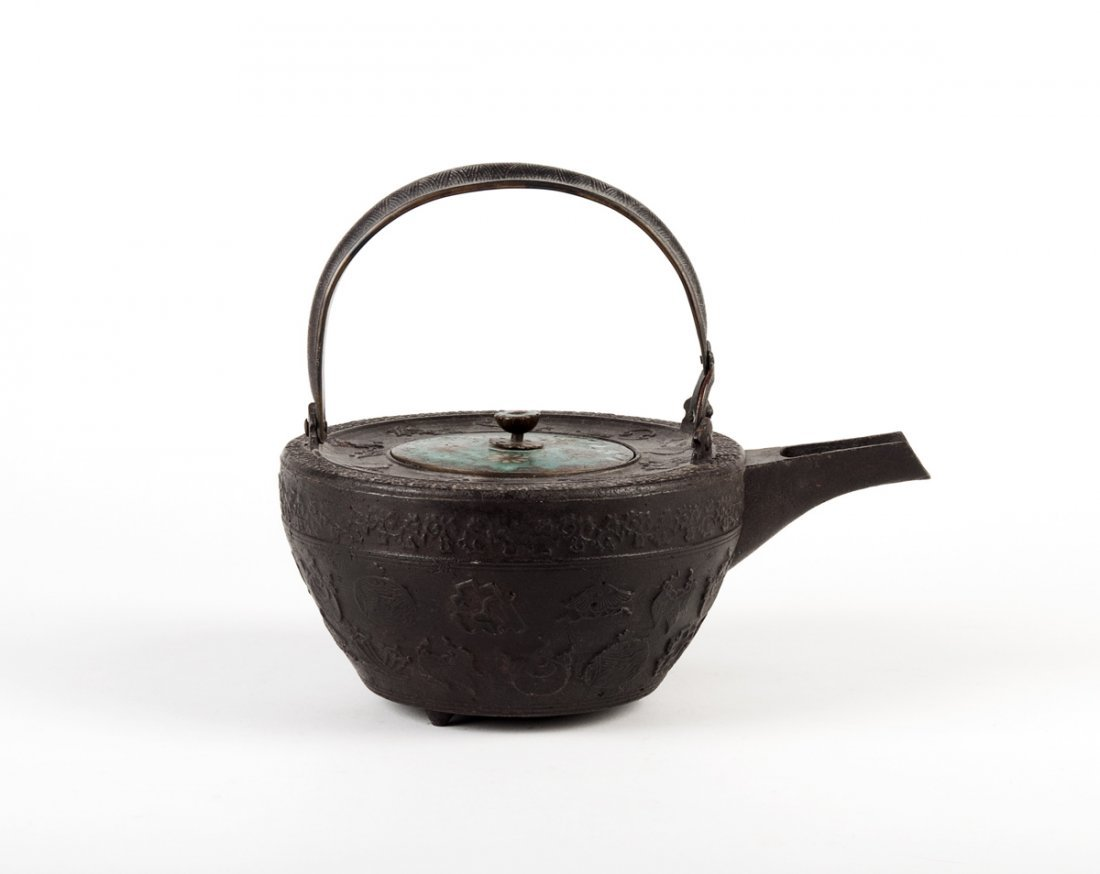 A Japanese champleve enamel and cast iron wine pot,