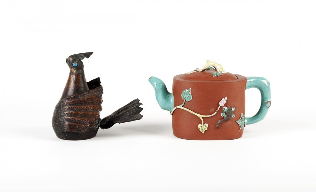 An enameled terracotta naturalistic Yixing teapot and