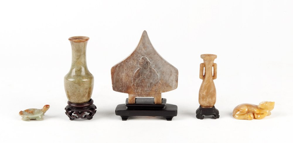 A Collection of five various Chinese hardstone carvings