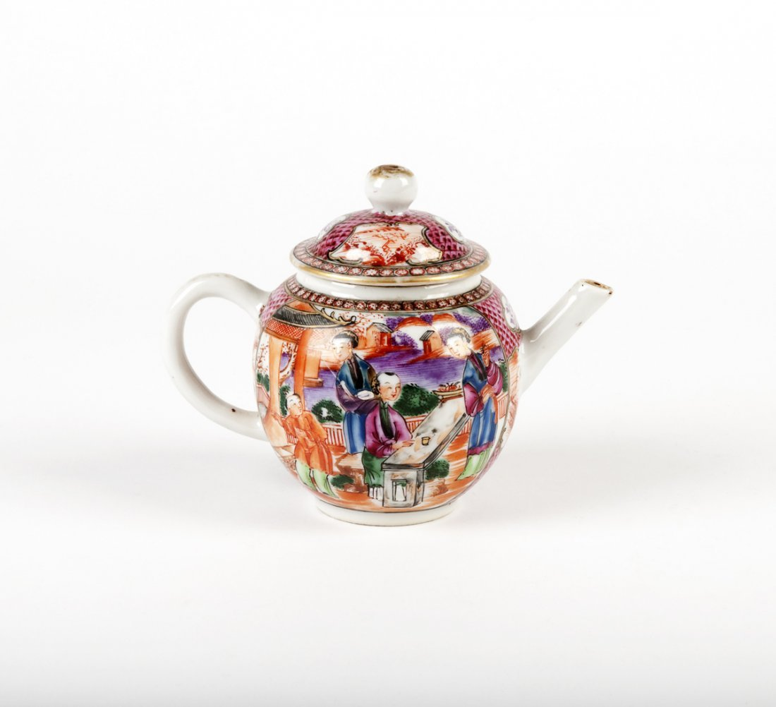 A Chinese export porcelain miniature teapot and cover,