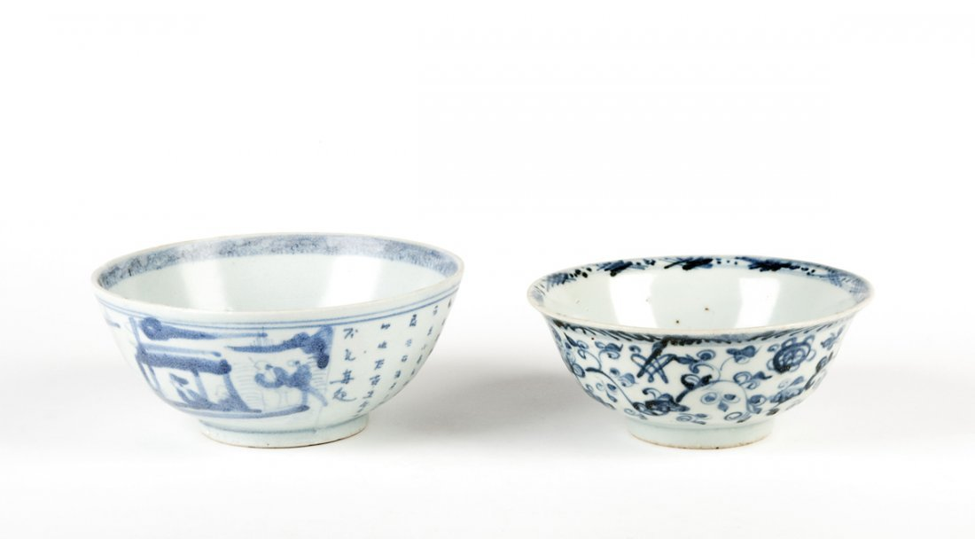 A Provincial Ming lotus meander bowl, 15cm diameter and