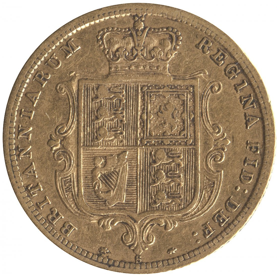 1881S, QV Young Head, Shield reverse with wide coarse