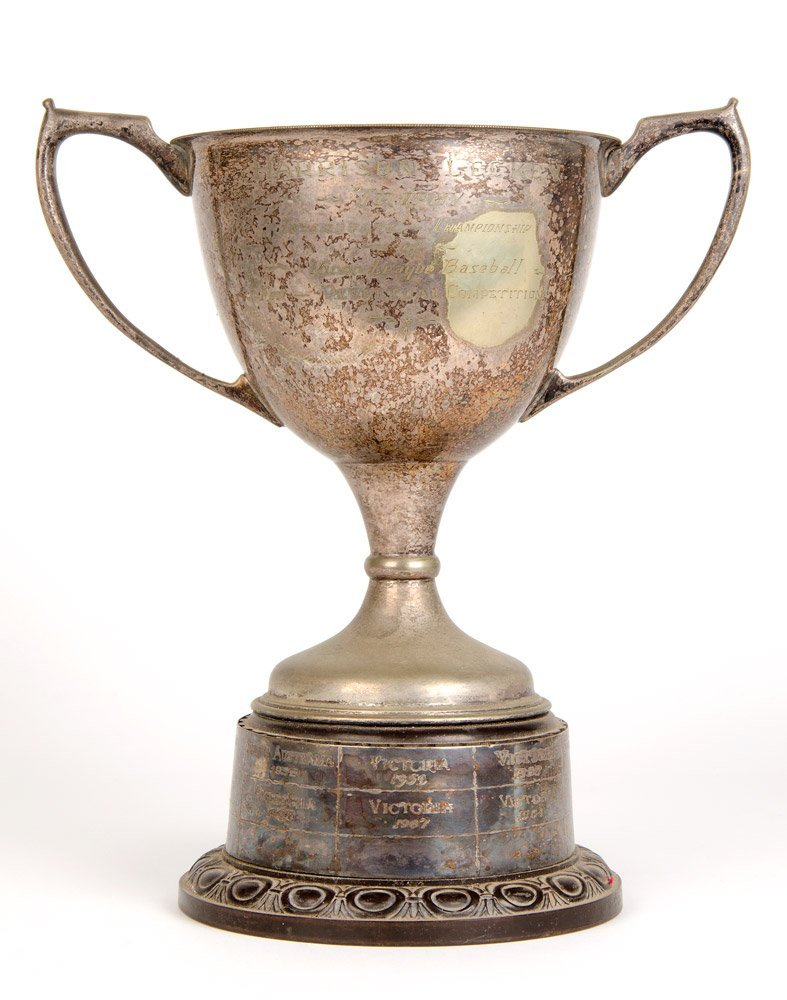 "BASEBALL: Silver-plated trophy cup, engraved ""Harrison"