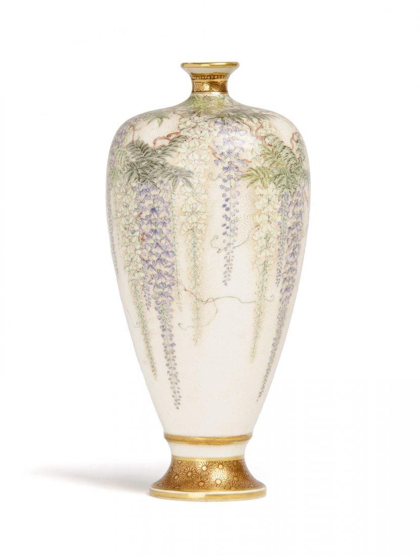 A Japanese Satsuma vase of elongated ovoid form, Meiji