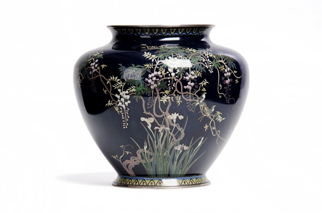 A Japanese cloisonné vase of squat ovoid form, Meiji