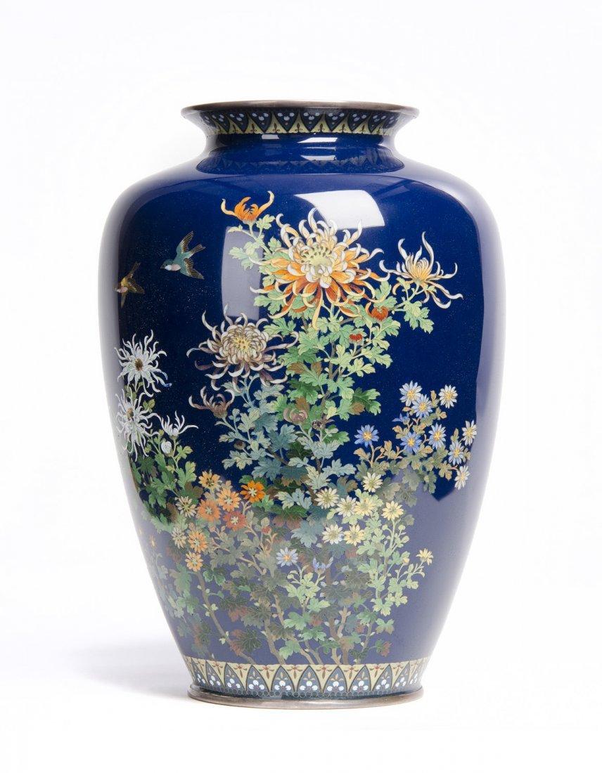 A Japanese cloisonné vase  of ovoid form, Meiji Period