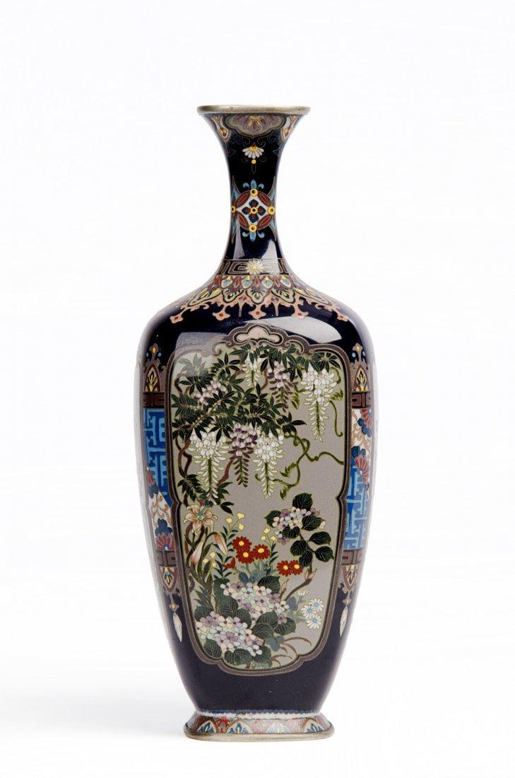 A fine Japanese cloisonné vase of quatrefoil shape,