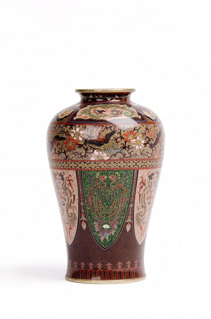 A Japanese cloisonné vase of baluster form, Meiji