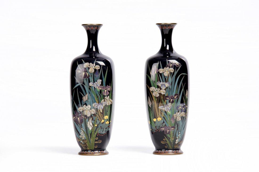 A pair of Japanese cloisonné vases, Meiji Period