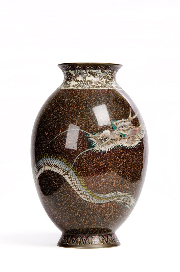 A Japanese cloisonné vase of elongated ovoid form,