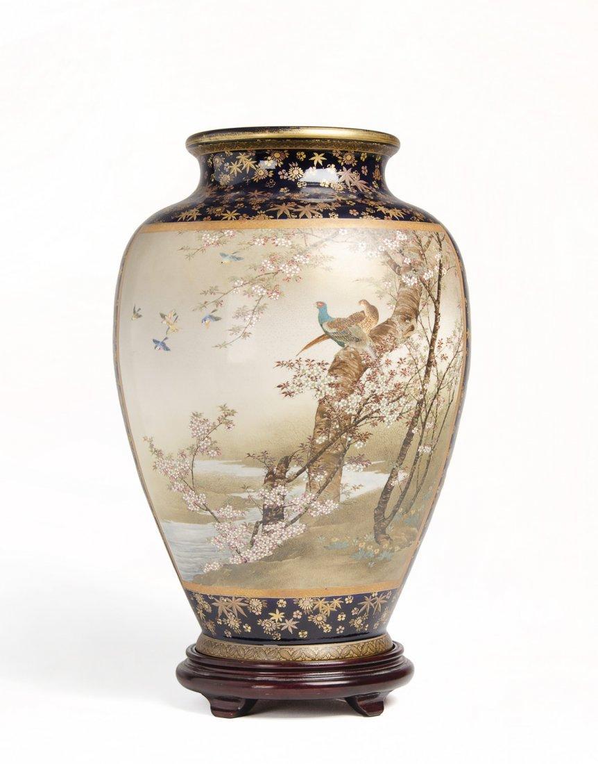 A fine and large Japanese Satsuma vase, Meiji Period