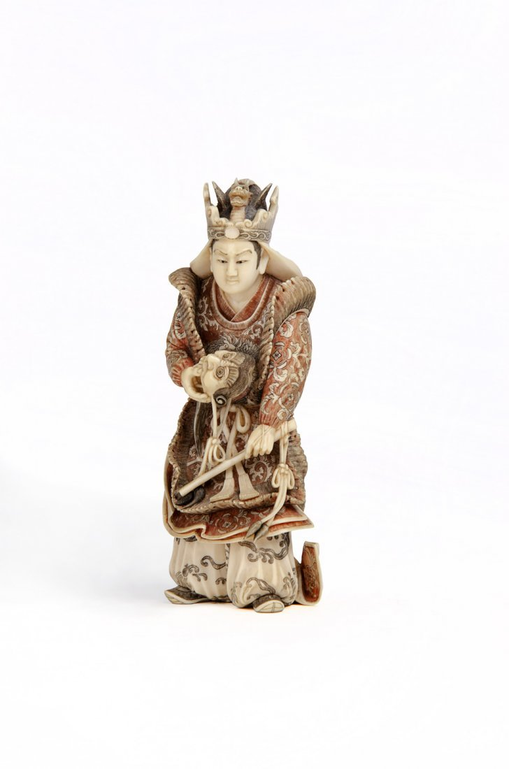 A Japanese ivory Okimono  of a noh actor, Meiji Period