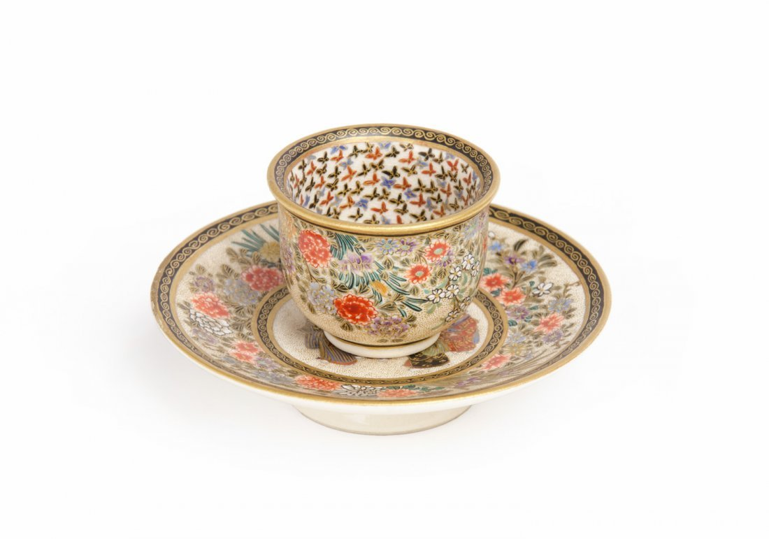 A Satsuma miniature tea  bowl and saucer, Meiji Period