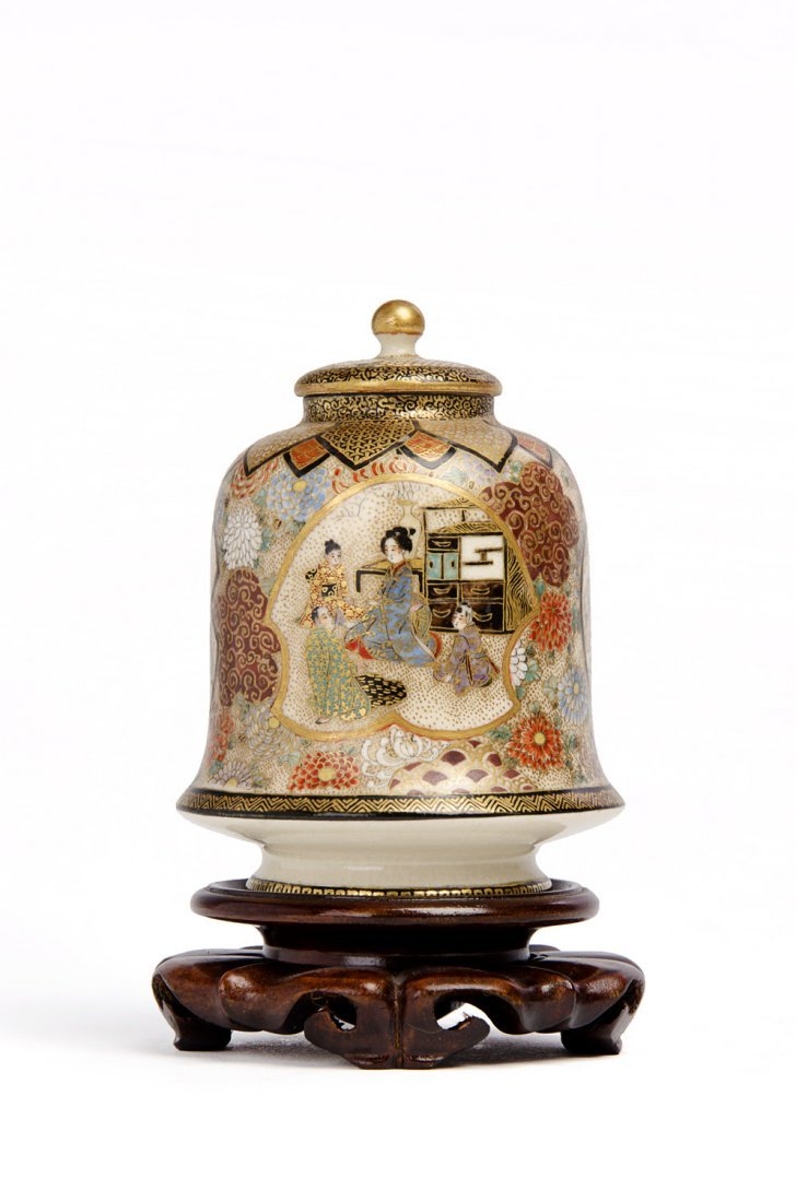A Satsuma bell-shaped jar and cover, Meiji Period
