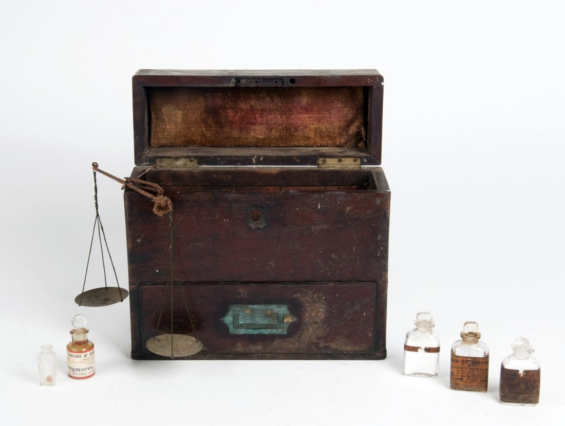 Antique mahogany scientist's box, fitted with scales