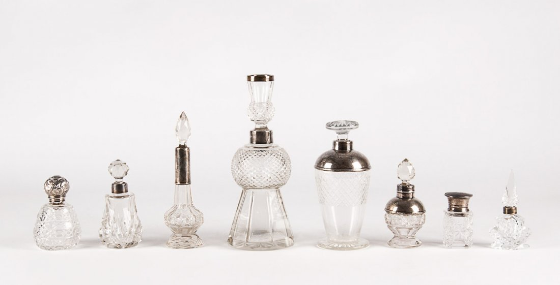 Group of eight vintage and antique vanity and perfume