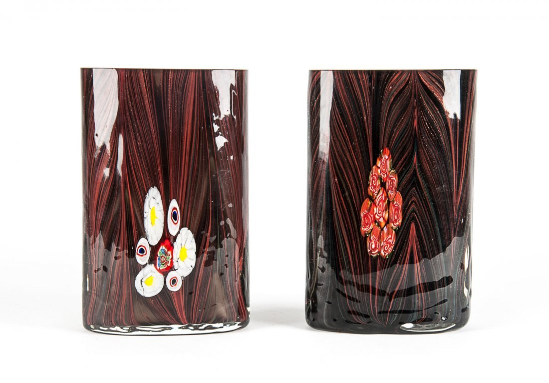 Pair of art glass mantle vases with candy cane
