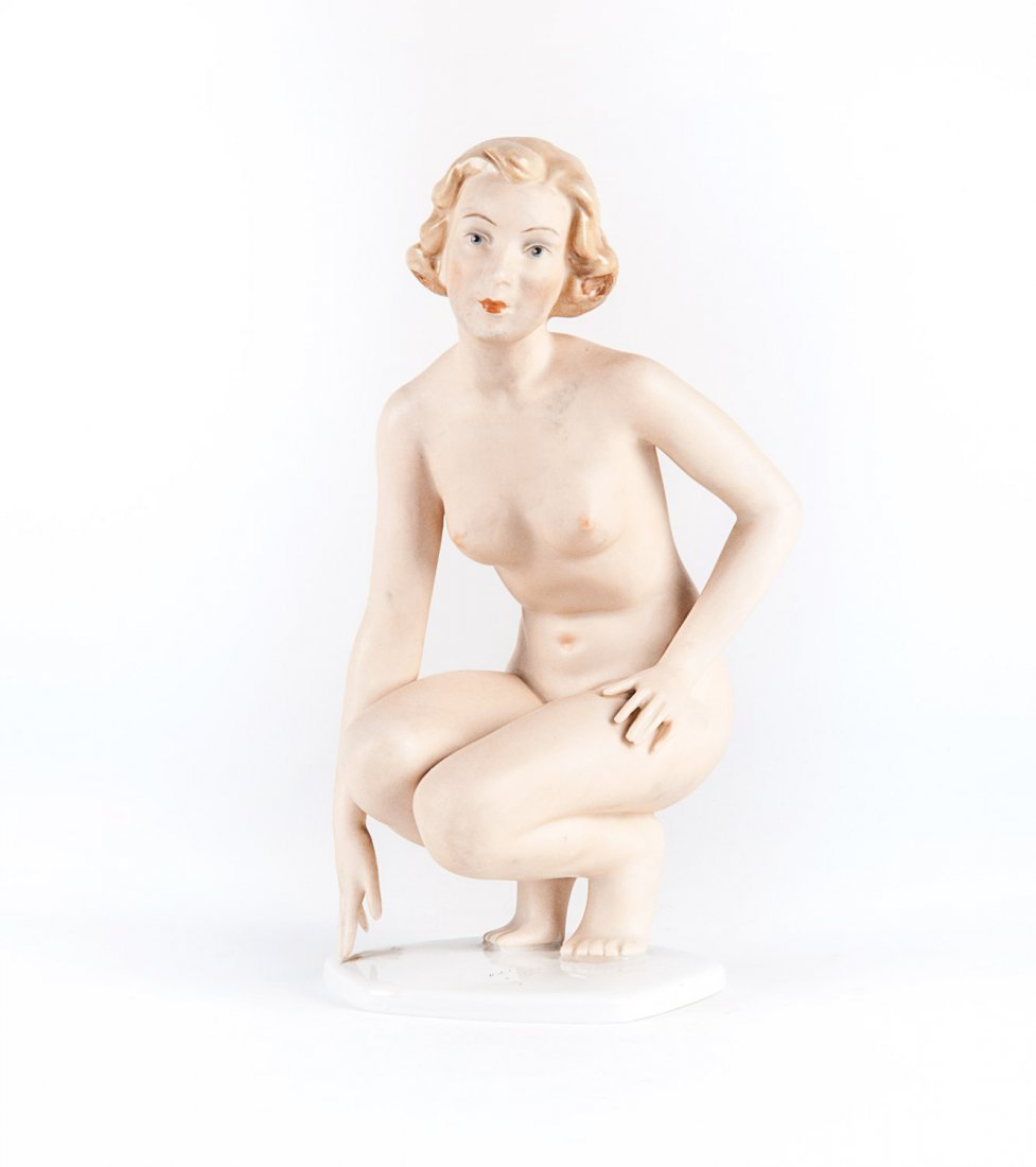 German porcelain female nude statue in the art deco