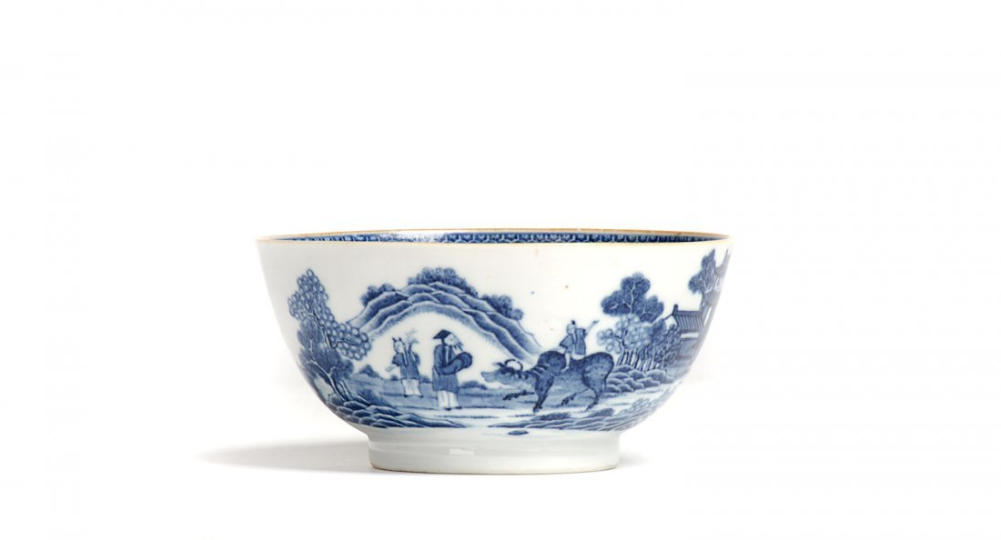 18th century English blue & white Chinese patterned