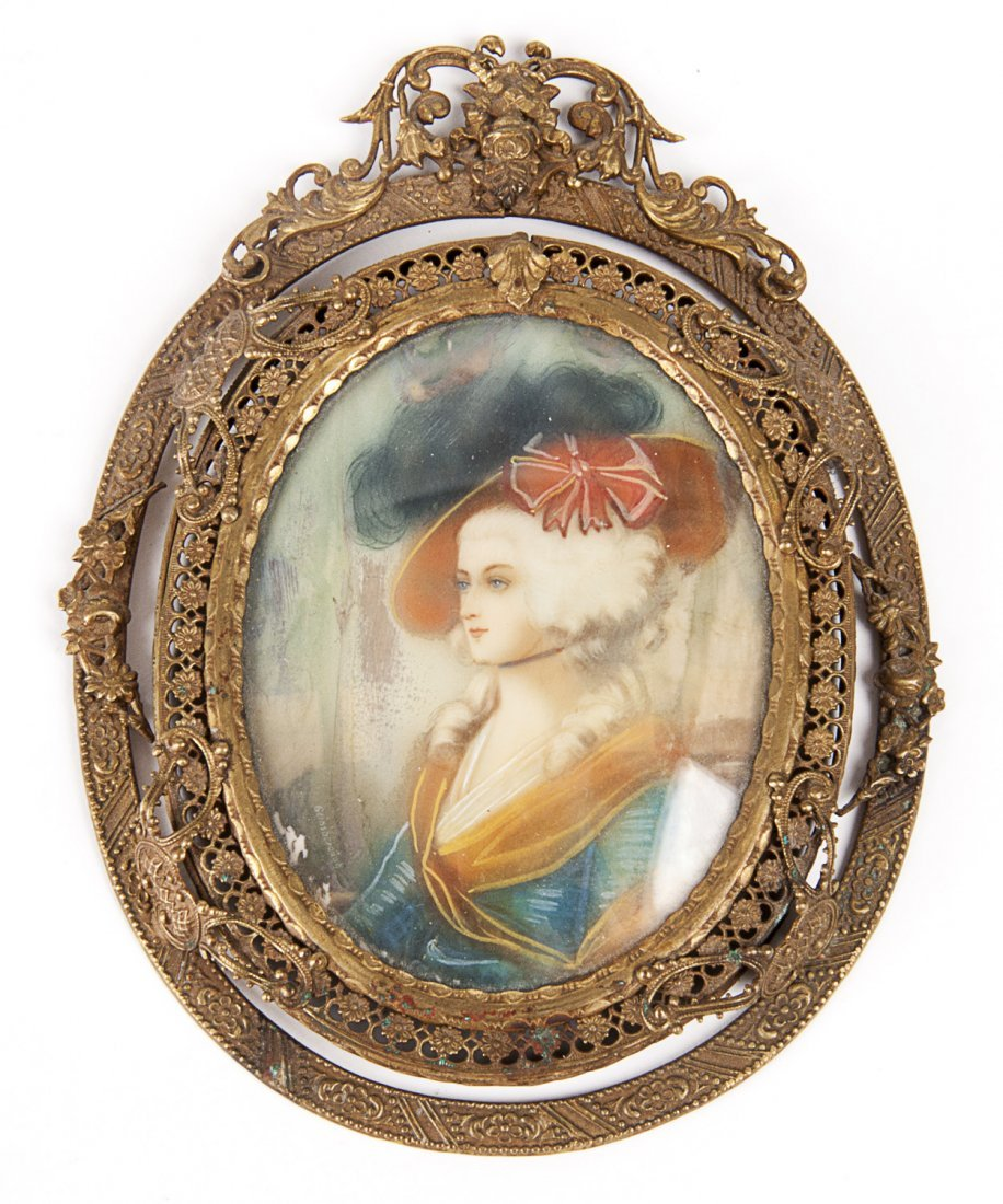 MINIATURE PORTRAIT: Painted on ivory of Marie