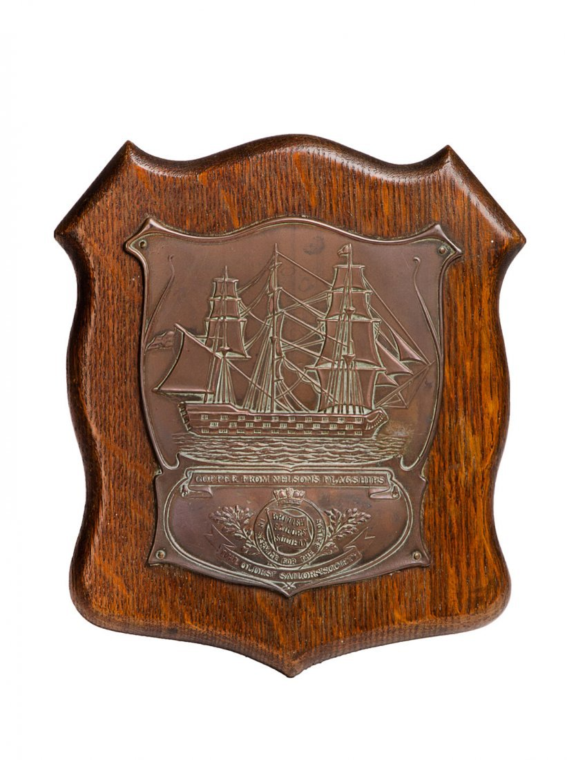 "NELSON PLAQUE: ""Copper From Nelson's Flagship"" mounted"