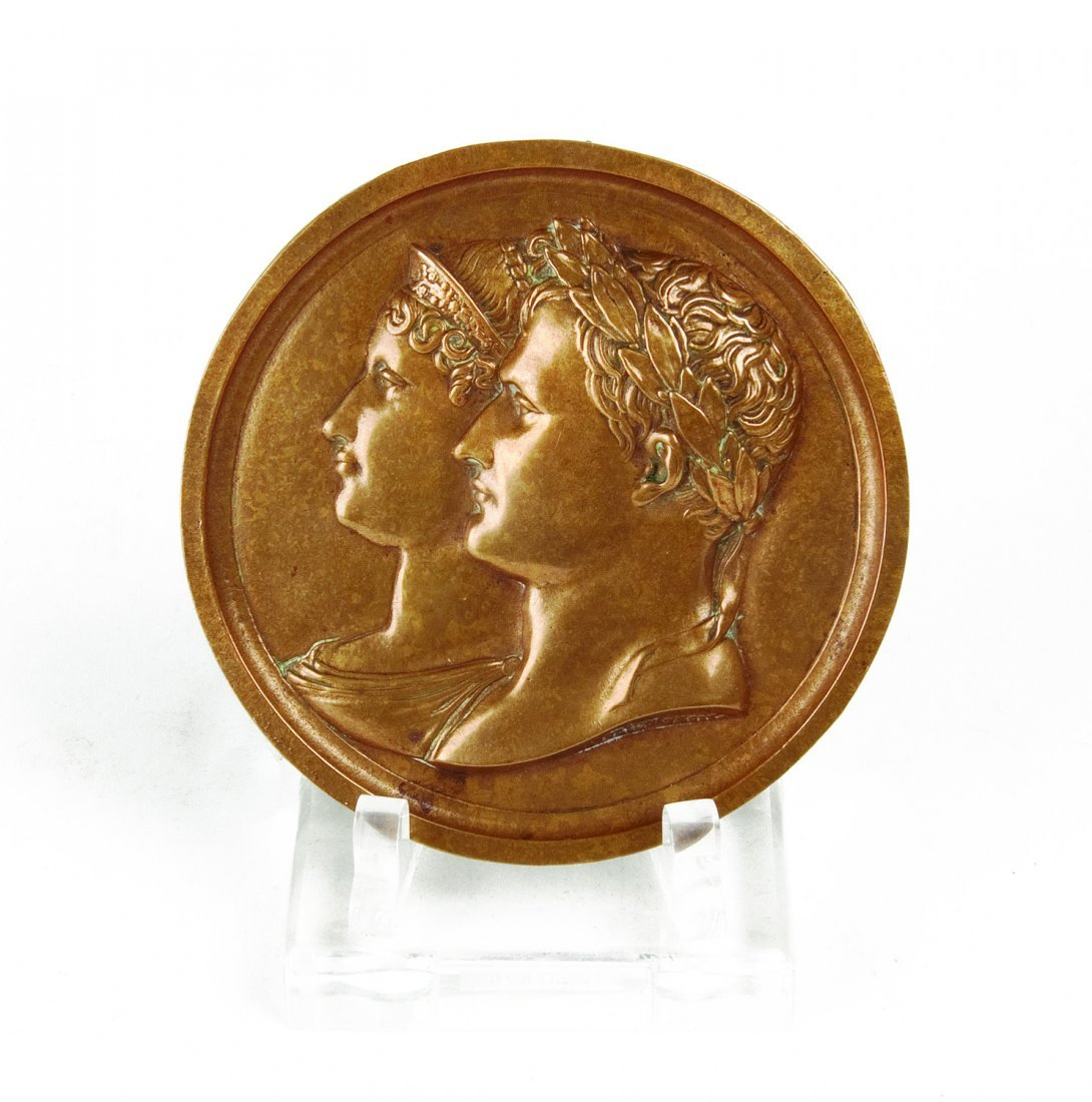 Napoleon & Josephine circular brass plaque by Andrieu,