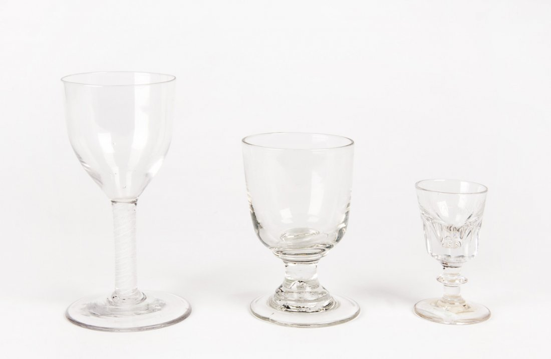 GEORGIAN WINE GLASSES: Group of 3 including a fine air