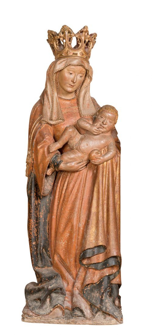 A rare limestone figure group of the Virgin and child,
