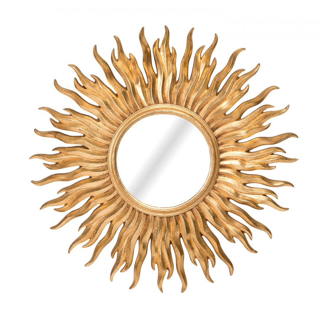 A gilt wood convex starburst mirror, Italian, circa