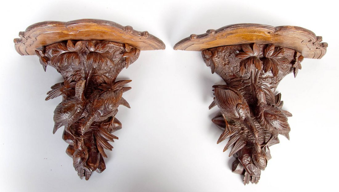 A pair of quail carved wall sconces, French, circa 1860