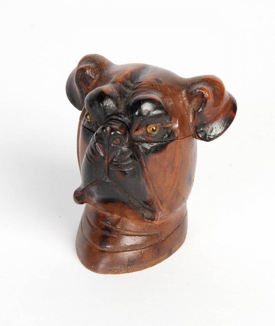 A carved pug's head form inkwell, European, circa