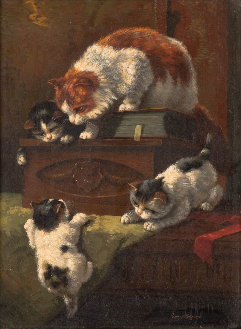LOUISE MORNE Kittens at Play,French School, 19th