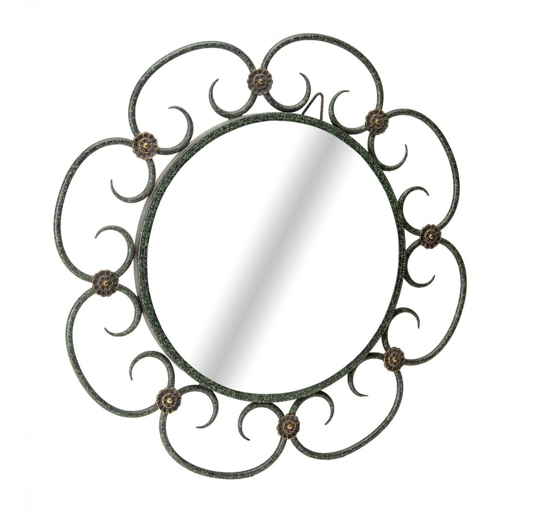A fine wrought iron and bronze circular wall mirror,