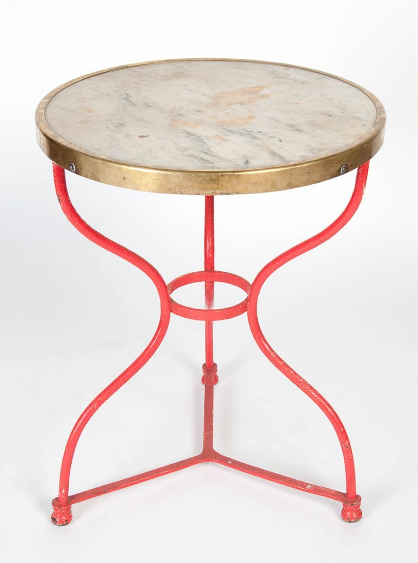 A red painted and brass mounted carrara marble patio