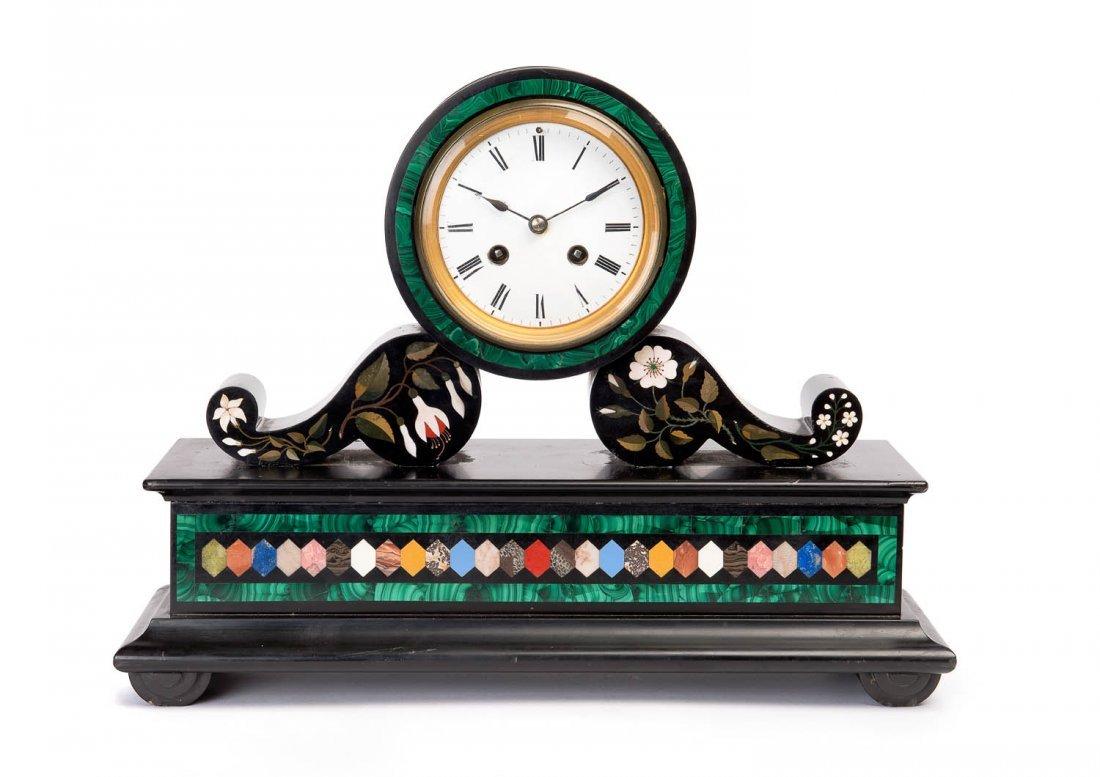 An unusual pietra dura and white enamel clock, Italian,