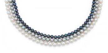 A triple strand pearl necklace, 18ct yellow gold
