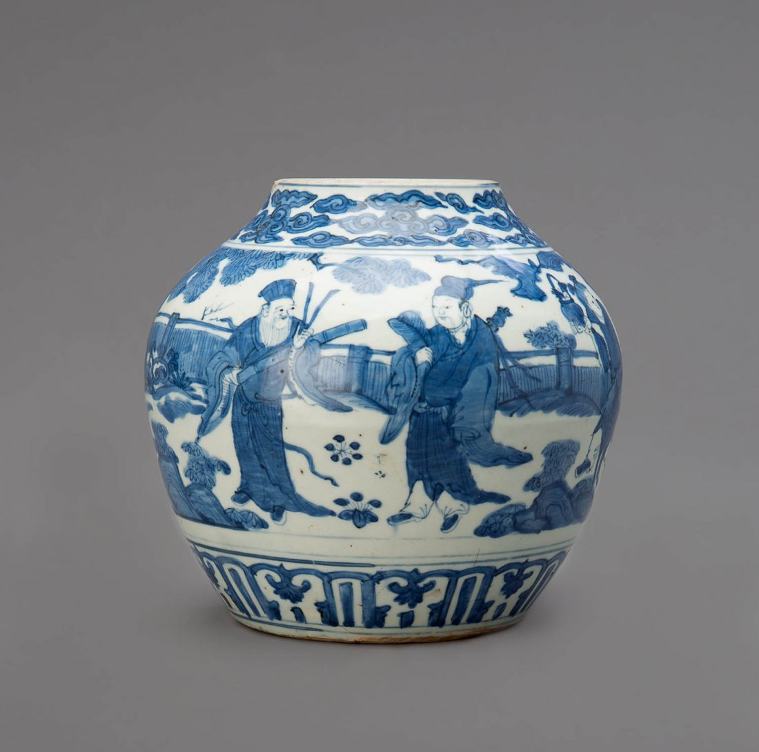 A blue and white globular vessel, Ming Dynasty, 16th