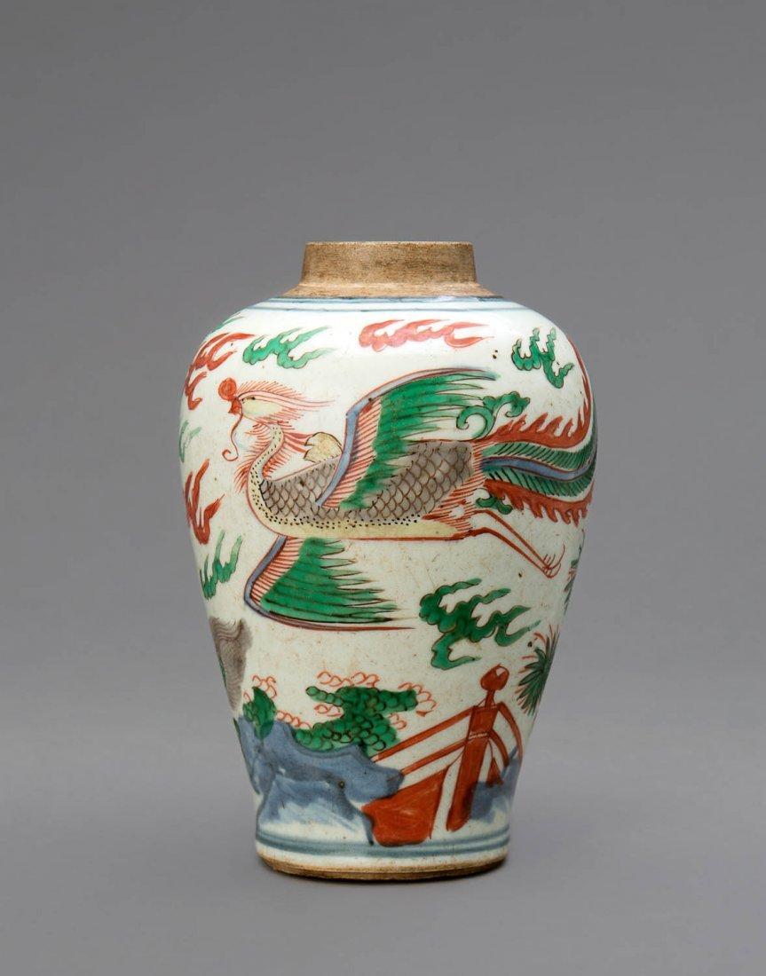 A Chinese Wucai enamel jar, mid 17th century