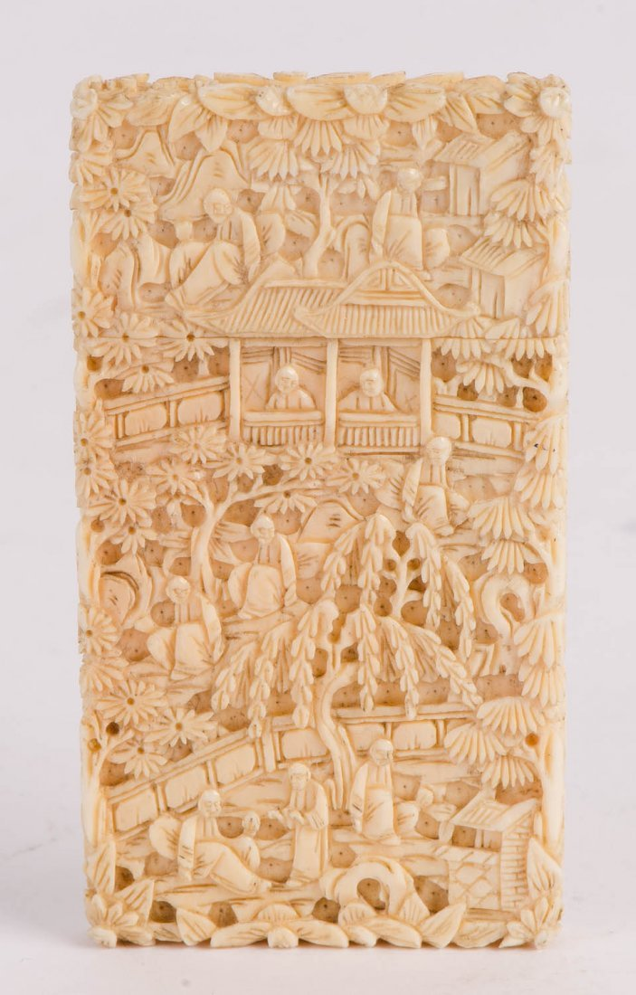 Two Cantonese ivory card cases, late Qing Dynasty, 19th
