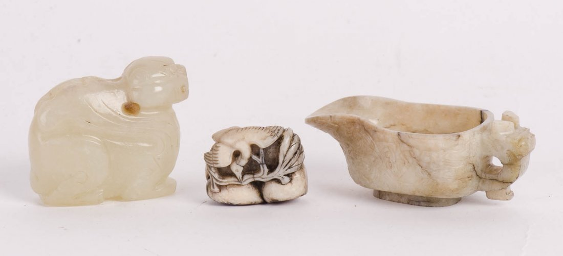 A small chicken bone jade libation cup, probably Qing